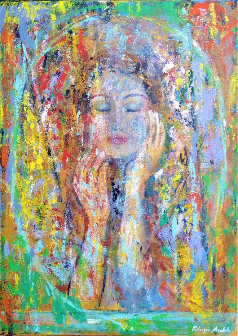 Donna immersa nei colori