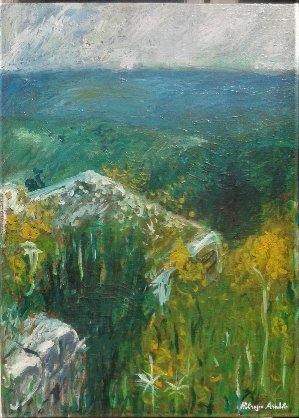 Paesaggio con rudere e fiori